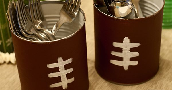 Painted tin can craft for football season, tailgating or a Super Bowl