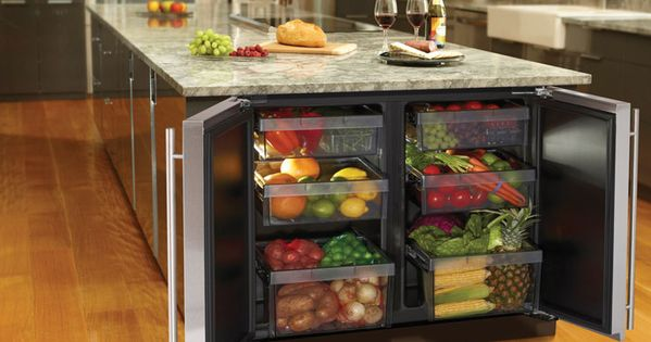 dream kitchen- island fridge for fruits and veggies!