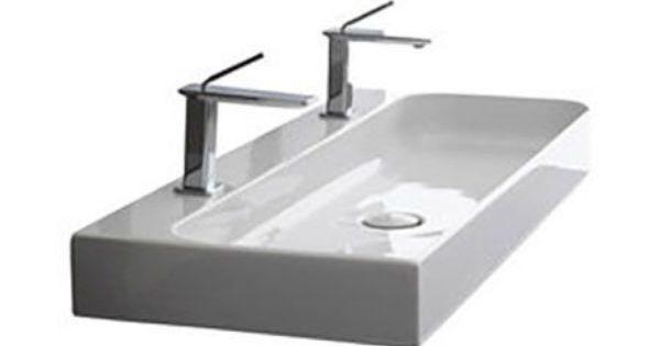 Wall Mounted Trough Sink : Ceramic Trough Bath Sink Wall Mount 48