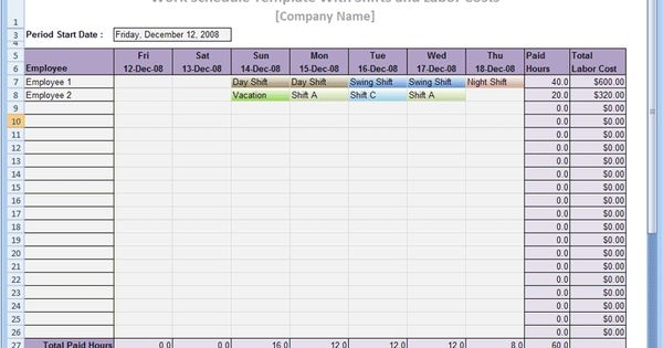 an excel scheduling template designed to let you create and print a weekly work schedule for up. Black Bedroom Furniture Sets. Home Design Ideas
