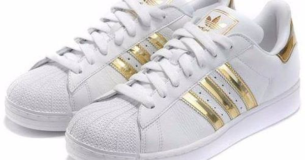 Tenis Super Star Branco Com Listra Dourada Bo8911 Tenis Adidas