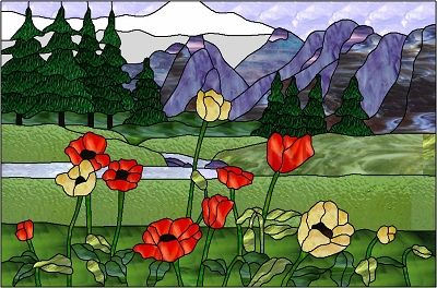 Flowers In Front Of Mountain Landscape Stained Glass