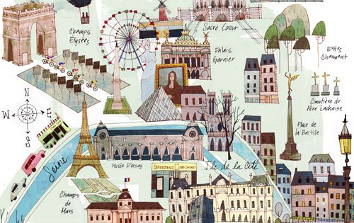 Gorgeous illustrated map of Paris by Josie Portillo Paris France