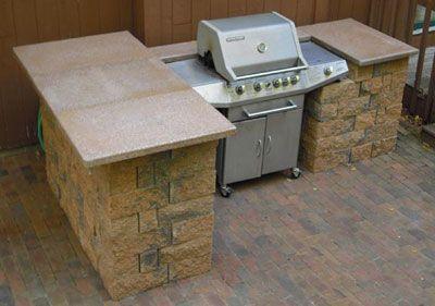 Bbq Kitchen Island With Concrete Blocks Diy Outdoor Kitchen Small Outdoor Kitchens Outdoor Kitchen