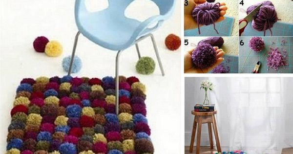 Diy wool pom pom carpet tejido pinterest pompones - Bolas de ganchillo ...
