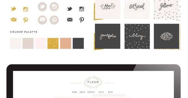 FLEUR- THE ULTIMATE WEB AND BLOG KIT BY MISS POPPY DESIGN! SOCIAL