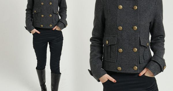 WINTER WOOL COAT CASHMERE COAT GRAY COAT DOUBLE BREASTED MILITARY STYLE