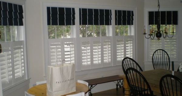 Cafe Shutters With Roman Shades Curtains Pinterest