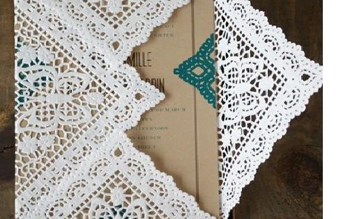 Pretty paper lace. Wedding Invitation Liners-Set of 10, 9 Inches. $7.50 USD.