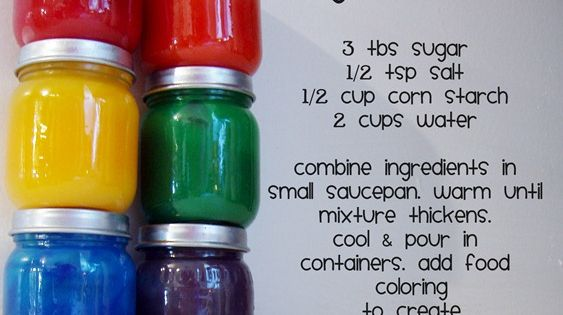 Homemade finger paints {recipe}. what a brilliant idea and I know where