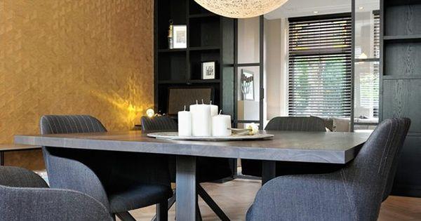 Interieur design en realisatie stadswoning haarlem goud als rode lijn behang van arte - Tafel boconcept ...