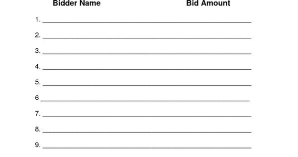 silent auction bid sheets printable