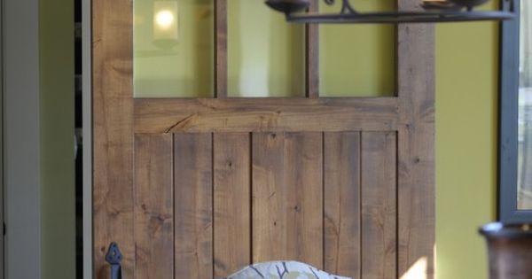 love the window in the door - and the sliding barn door