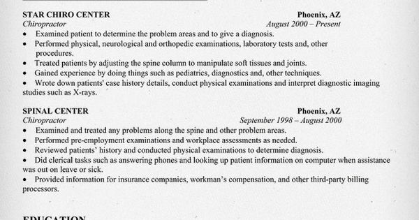 chiropactor resume sample httpresumecompanioncom health jobs nursing robert lewis job houston resume pinterest nursing resume examples and - Chiropractic Resume