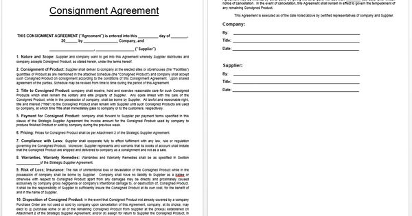 Consignment Template