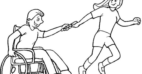 helping boy with disability on wheelchair coloring page