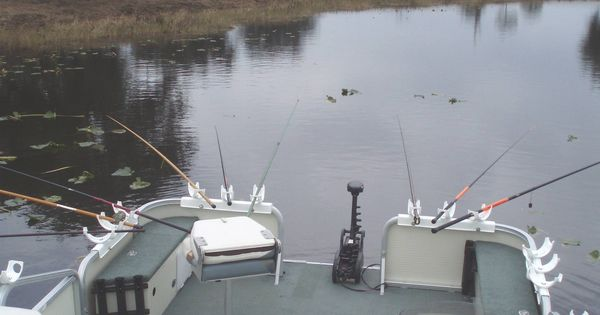 Example of how to use our fishing rod holders on a pontoon for Fishing rod holders for pontoon boats