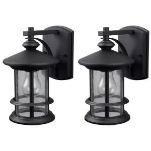 Canarm Ryder 1 Light Black Outdoor Wall Lantern Sconce With Seeded Glass 2 Pack Iol141tbk Hd The Home Depot Outdoor Light Fixtures Wall Lantern Outdoor Wall Lantern