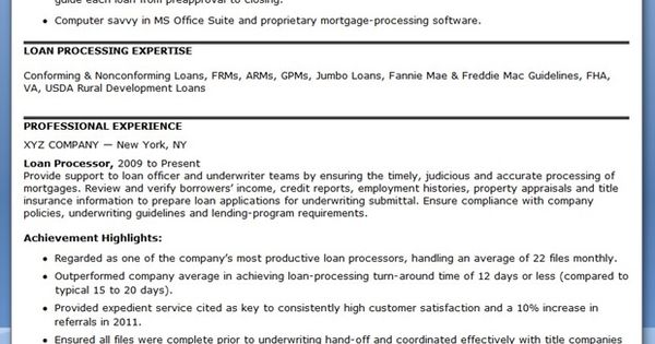 Best Ideas About Processor Resume, Loan Processor And Templates Word On  Pinterest | Resume, Resume Templates And Templates