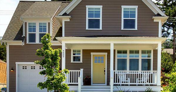Brown Exterior Yellow Door Nice Porch Amp Landscaping
