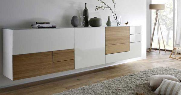 wohnm bel moderne sideboard h ngend wei hochglanz mit gepaart dem warmen oliv holz komplette. Black Bedroom Furniture Sets. Home Design Ideas