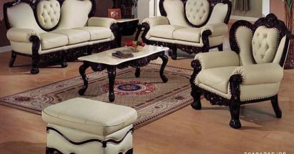 Victorian leather living room set in ivory and brown! | My ...
