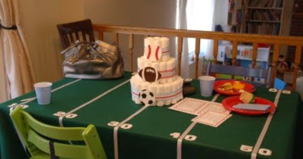 Sports Themed Baby Shower Ideas /// I love the tablecloth and the