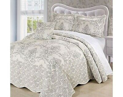 Details About Antique White Gray Embroidered 4 Pc Quilt Set