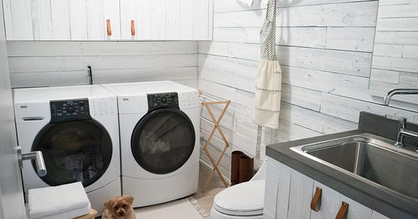 Erin Loechner's awesome rustic laundry room makeover (see before-and-after photos). Love the