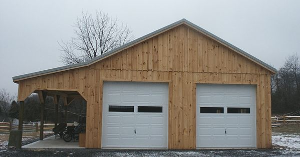 Barn This 28 X36 X12 Pole Barn Has 10 Wide Lean To Two 10 X10 Garage Pole Barn House Plans Pole Barn Homes Barn Plans
