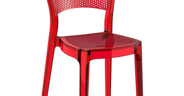 Chaise design STORM rouge transparente en matière plastique ...