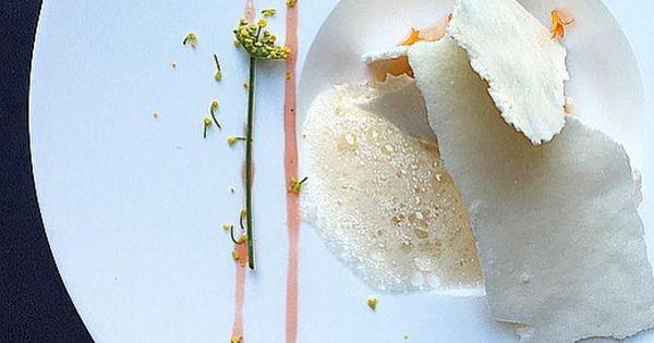 Orange aquafaba meringue, cardamom-beet ice cream, beet beer syrup ...