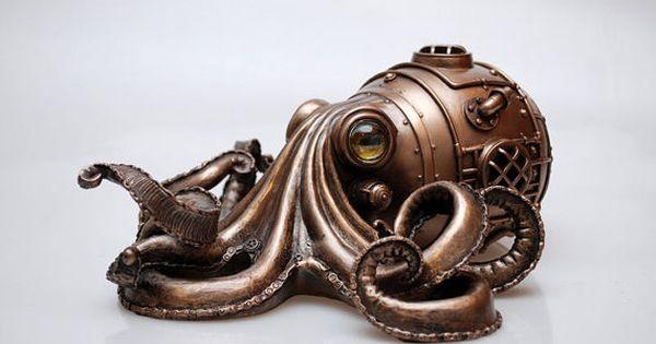 objet de collection steampunk octopus fabriqu partir dune base de r sine avec une m daille. Black Bedroom Furniture Sets. Home Design Ideas
