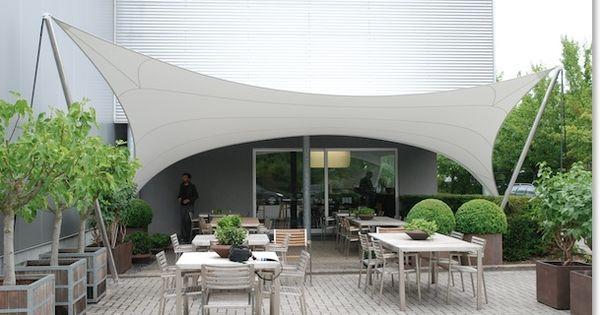 Zeilstructuur terras overkapping zeildoek sonnensegel feststehend pinterest - Gespannen terras ...