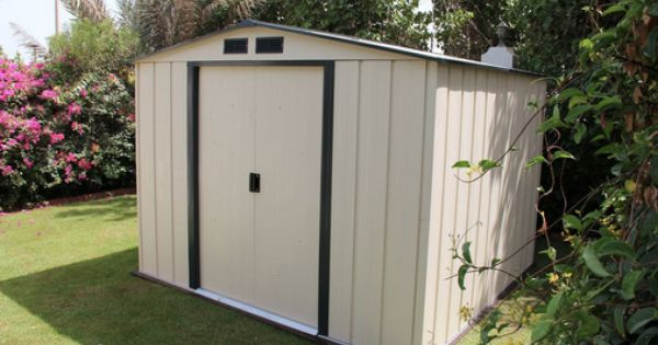 Duramax Duramax 10x10 Eco Shed Ivory With Dark Gray Trim Metal Shed Plastic Sheds Shed