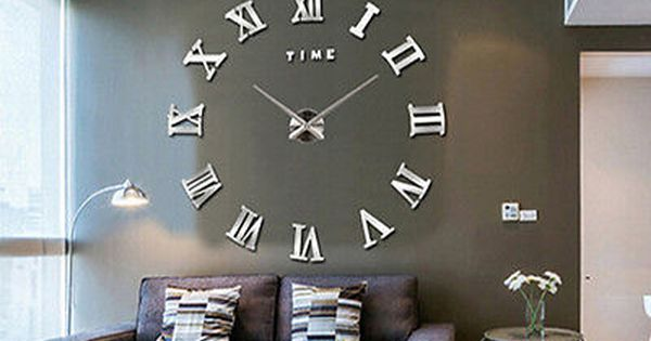 Details about luxury diy wall clock 3d roman numerals for Whatever clock diy