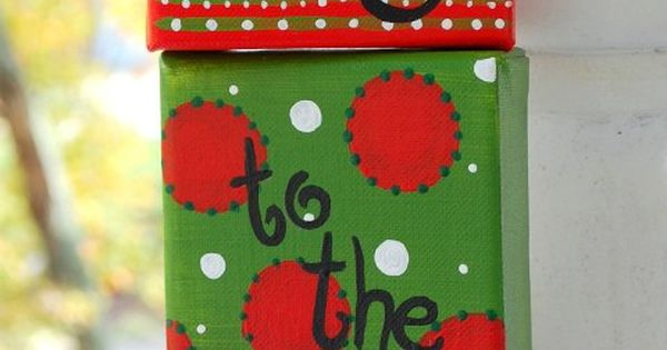 Joy to the world set of 3 4x4 canvases custom painting for Decoration 4x4