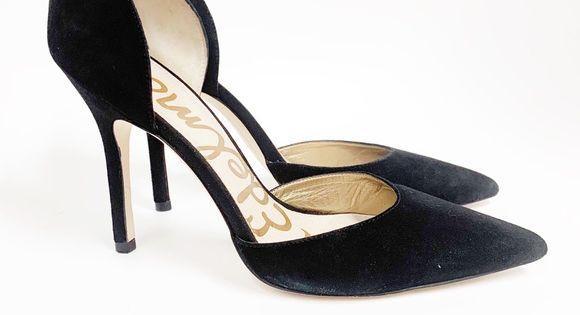 SAM EDELMAN Delilah D'Orsay Heels black suede 9 | Black
