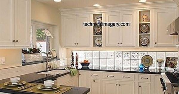 Traditional White Inset Kitchen Kitchen Design Glass Blocks Kitchen Backsplash