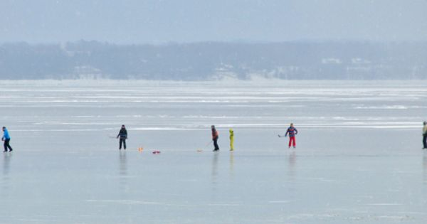 Kids In A February Pickup Hockey Game On Frozen East Grand Traverse Bay Wine Tour Touring Traverse City