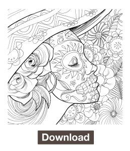 Day Of The Dead Coloring Page Download With Images Witch