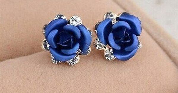 floral wedding jewelry blue rose earrings gift for her romantic jewelry Blue dangle flower earrings blue and ivory jewelry