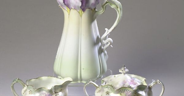 Antique R.S. Prussia Tea Set..lovely delicate lilac shade on ivory background :D