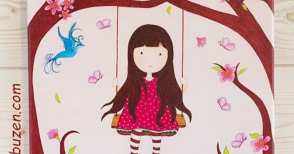 tableau enfant petite fille sur sa balan oire dans la for t entour e de papillons et d 39 un. Black Bedroom Furniture Sets. Home Design Ideas