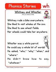 First Grade Reading Comprehension Worksheet Phonics Words Stories Wh Reading Comprehension Phonics Reading Comprehension Worksheets