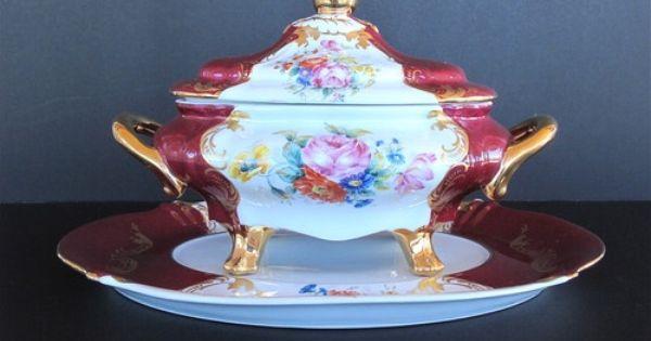 painting antique tureen antique 3 pieces f m limoges france hand painted porcelain tureen. Black Bedroom Furniture Sets. Home Design Ideas