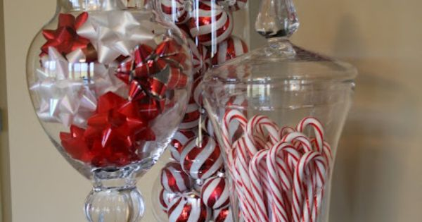 20 Super Easy Inexpensive Decor Ideas for Christmas - apothecary jars, candy,