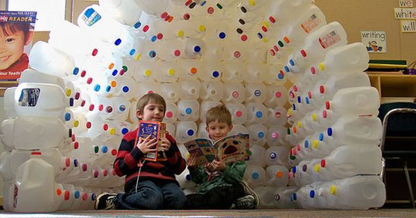 inspiration photo, no tutorial... epoxy plastic bottles into fort, cubby, room divider...
