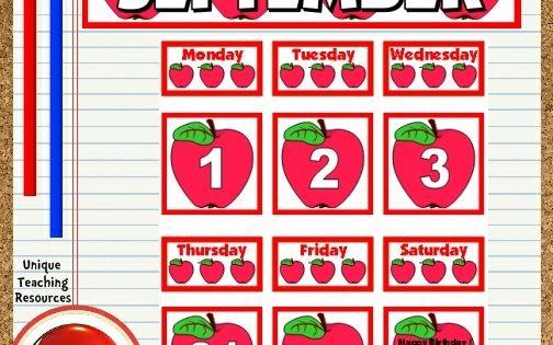 Free printable september classroom calendar for school for Calendar bulletin board printables