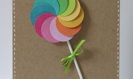 lollipop card! so cute! Would be easy to make with paint chips